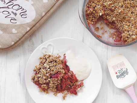 Healthy Rhubarb Crumble Recipe. Vegan + Gluten Free