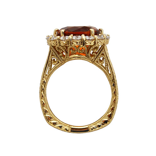 Fire Citrine & Diamond Ring