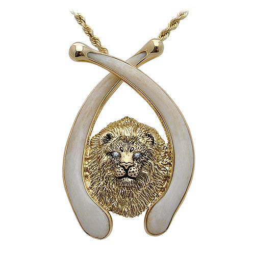 Lion Bust Bone Pendant