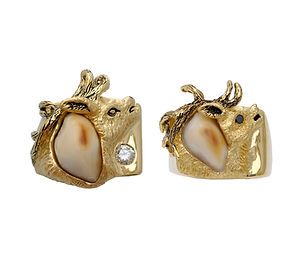 Elk, teeth, Ivory, 18kt Gold, Fine jewelry, Pendants, necklaces, rings, earrings, Diamonds,