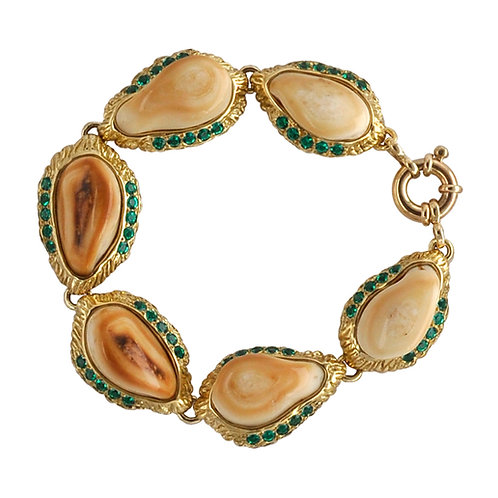 Elk Ivory & Emerald Bracelet