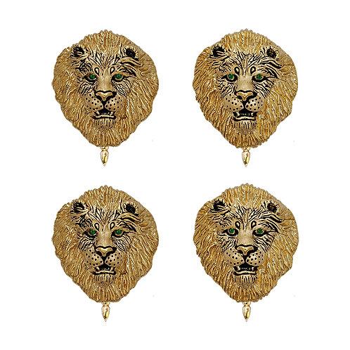 Lion Tux Studs w/Tsavorite Eyes