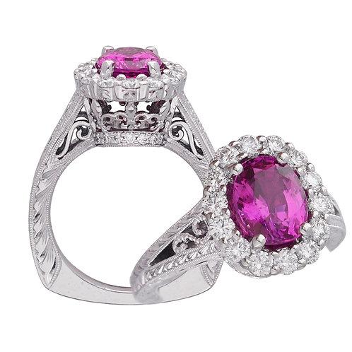 Pink Sapphire Fleur De Lis Ring