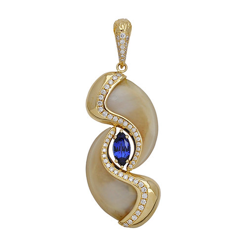 Sapphire & Diamond Claw Pendant