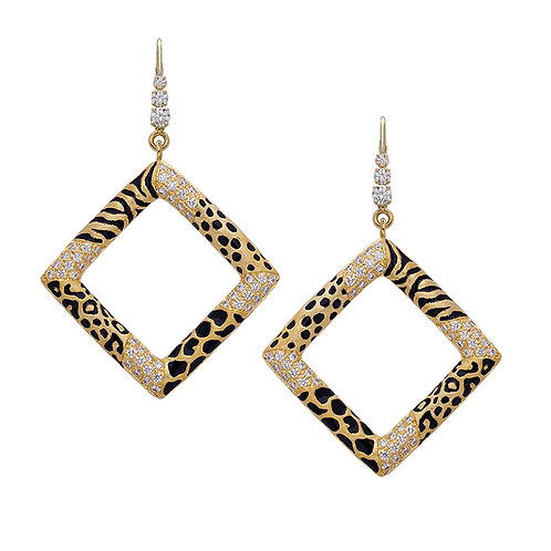 Multi Print Pave Square Earrings