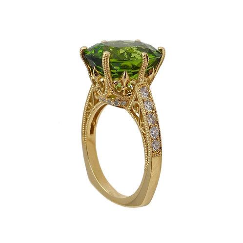 Peridot Fleur De Lis Ring