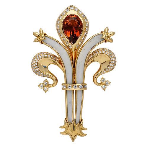 Fleur de Lis Madera Citrine & Diamond Pin