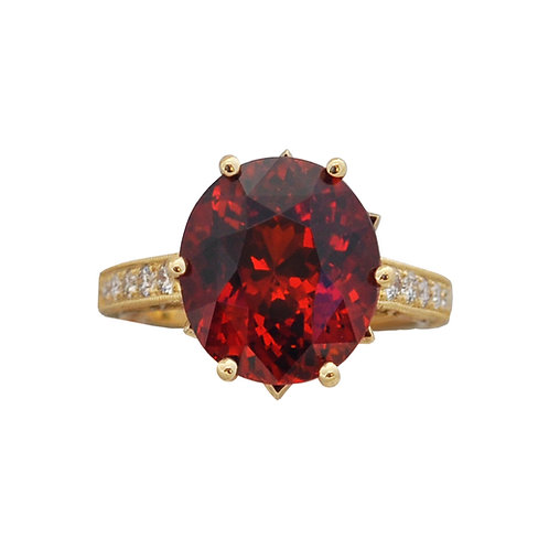 Spessartite Diamond Ring