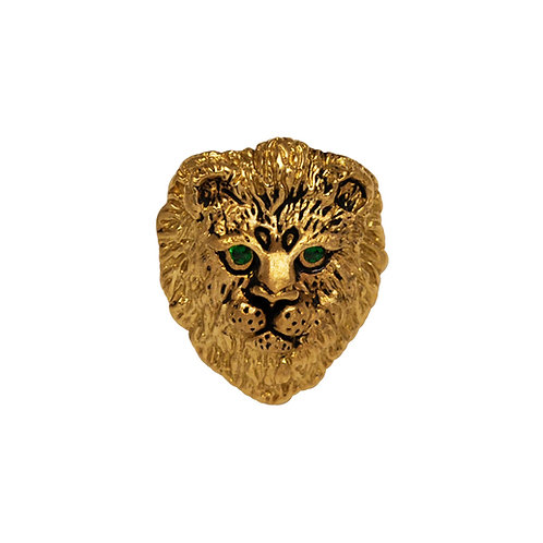 Tiny Lion Bust Pendant w/ Tsavorite Eyes