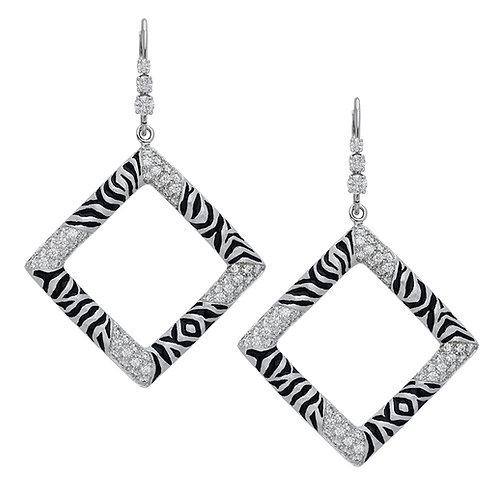 Diamond Zebra Square Earrings