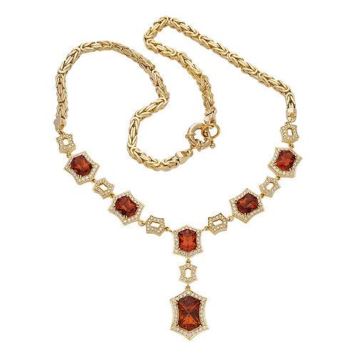 Fancy Fire Citrine & Diamond Necklace