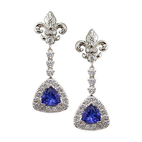 Tanzanite Fleur De Lis Earrings