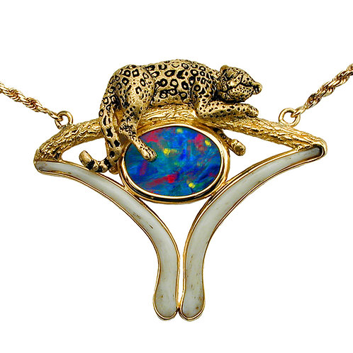 Opal Leopard Bone Necklace