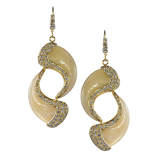Pave Double Claw Earrings