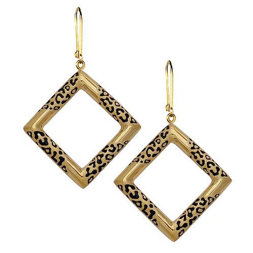 Leopard Square Earrings