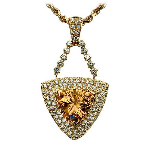 Champagne Citrine & Diamond Pendant