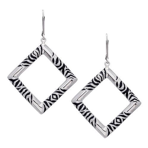 Zebra Square Earrings