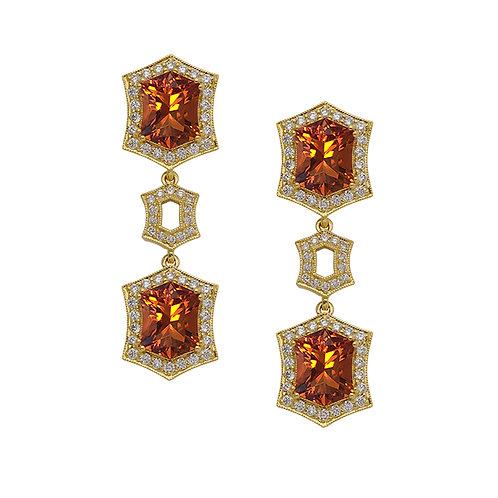 Fancy Fire Citrine Earrings