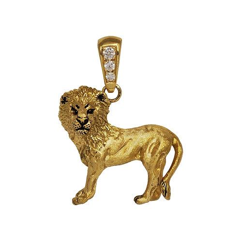 3D Lion Pendant w/ Diamond Bail