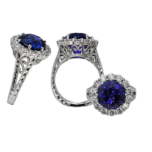 Crown Tanzanite & Diamond Ring