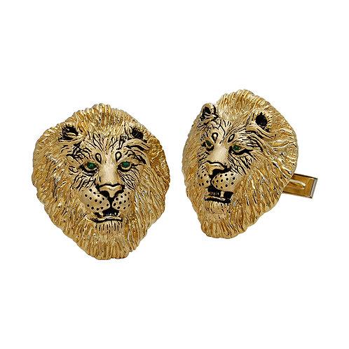 Lion Cufflinks w/Tsavorite Eyes