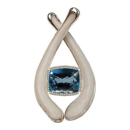 Aquamarine Diamond & Bone Pendant