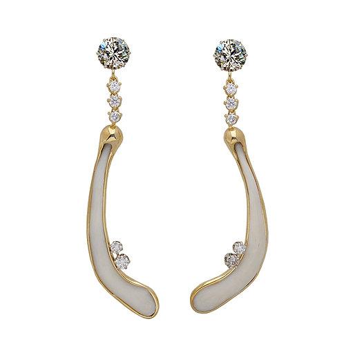 Diamond & Bone Earrings