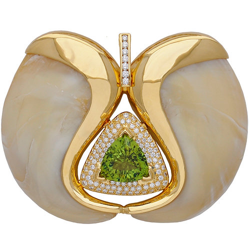 Pave Peridot Claw Pendant