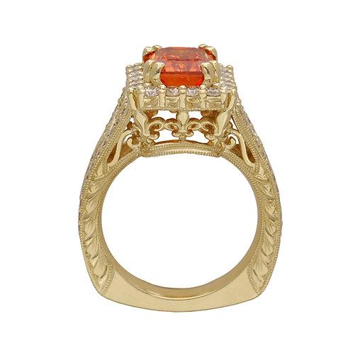 Golden Sapphire Fleur De Lis Ring