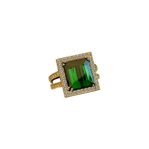 Chrome Tourmaline & Diamond Ring