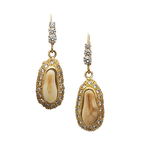 Red Buck Ivory & Diamond Earrings