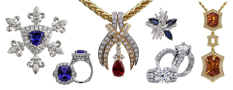 Crown collection, necklace, rings, tanzanite, earrings, Diamonds, 18kt Gold, Fine jewelry, Fleur de lis,