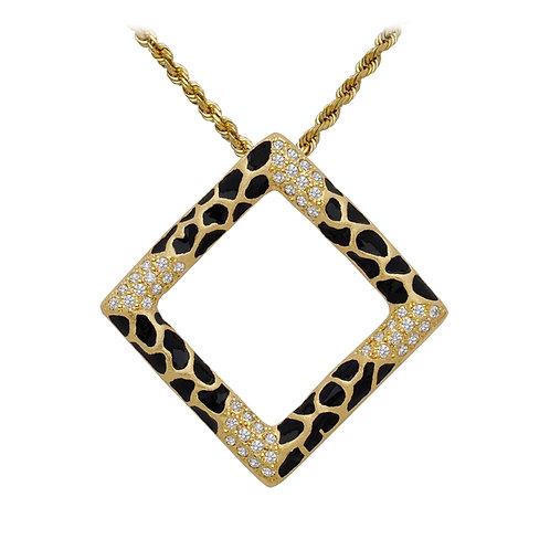 Giraffe Pave Square Pendant
