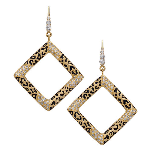 Leopard Square Pave Earrings