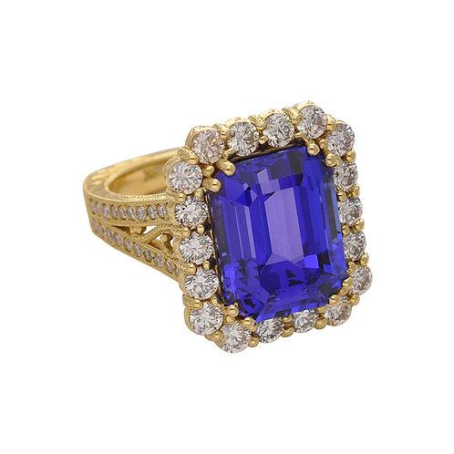 Tanzanite & Diamond Fleur De Lis Ring