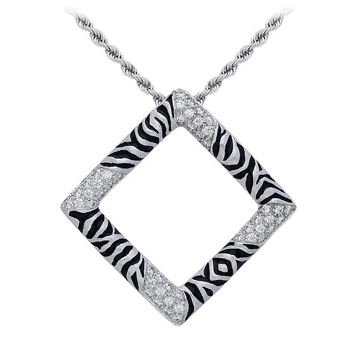 Diamond Zebra Square Pendant