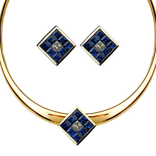 Sapphire Pendant & Earring Set