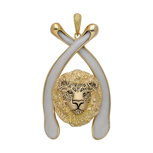 Bone Lion Bust Pendant