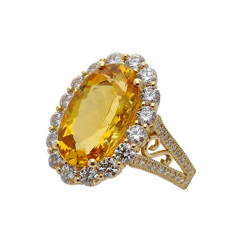 Golden Beryl & Diamond Ring