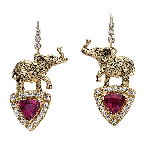 Tourmaline & Diamond Elephant Earrings