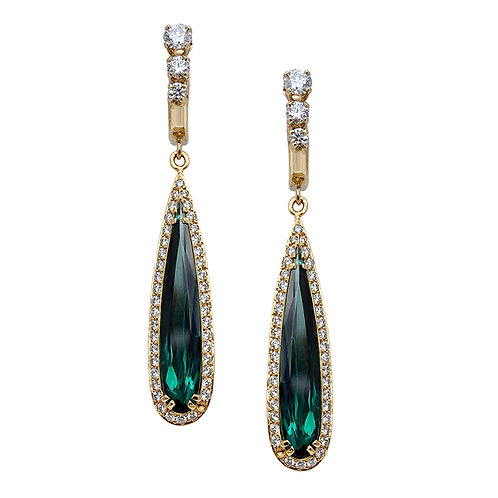 Tourmaline & Diamond Earrings