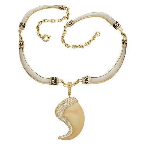 Pave Bone & Claw Necklace