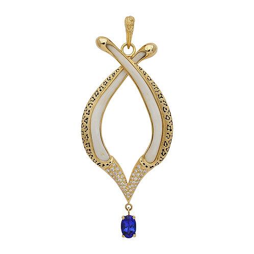 Tanzantite & Diamond Bone Pendant
