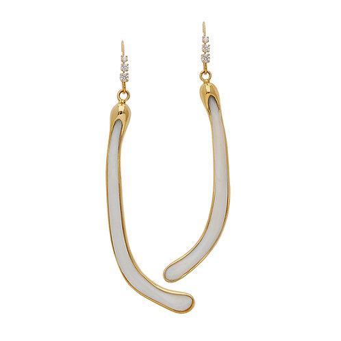 Bone & Diamond Earrings