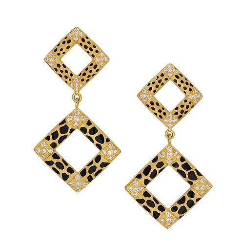 Pave Animal Print Square Earrings
