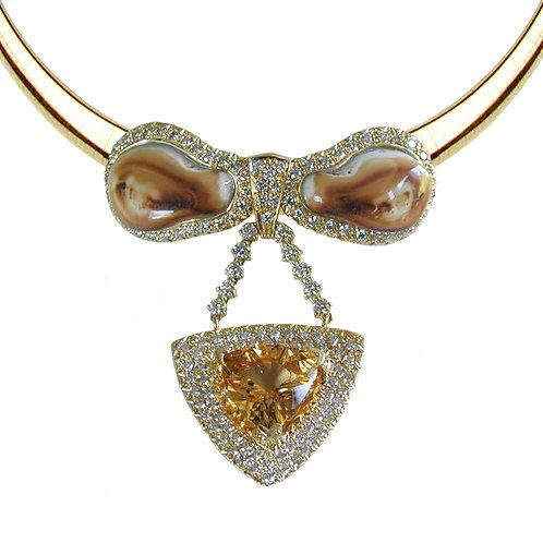 Elk Ivory Citrine & Diamonds Pendant