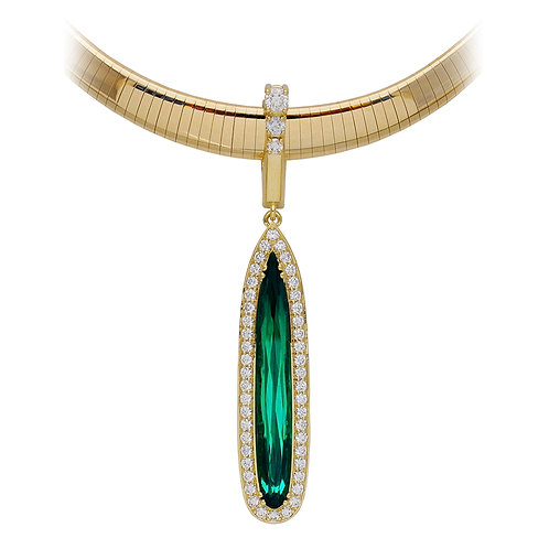 Tourmaline & Diamond Drop Pendant