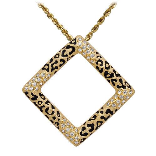 Leopard Pave Square Pendant