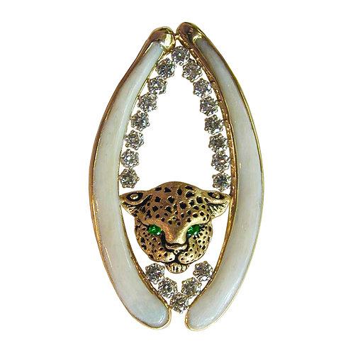 Leopard & Diamond Bone Pendant