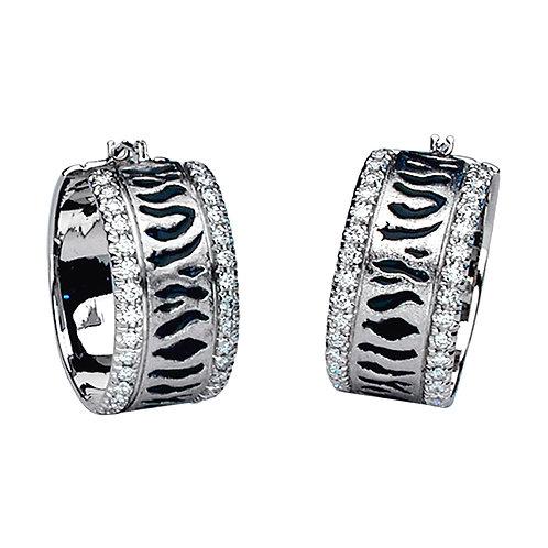 Diamond Zebra Cuff Earrings